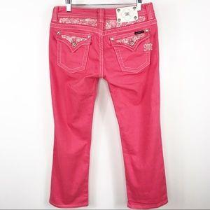 Miss Me Cropped Jeans blinged melon sz 30 JE5794c2